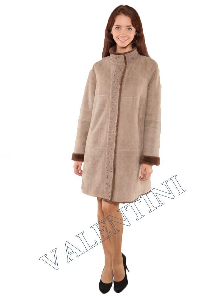 Легкая дубленка для нарядной зимы мод.366-90 - 1