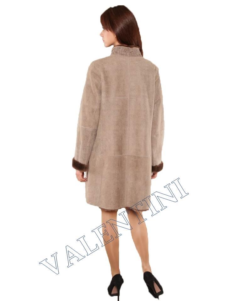 Легкая дубленка для нарядной зимы мод.366-90 - 2
